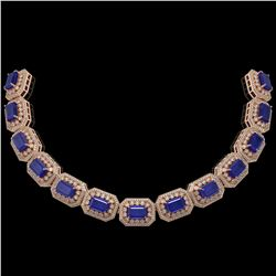 137.65 ctw Sapphire & Diamond Victorian Necklace 14K Rose Gold - REF-2875N6F