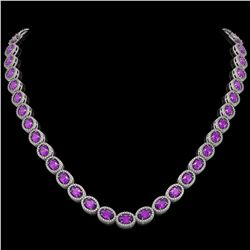 29.38 ctw Amethyst & Diamond Micro Pave Halo Necklace 10k White Gold - REF-600X2A