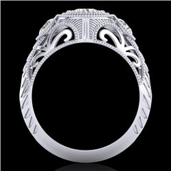 1.06 ctw VS/SI Diamond Solitaire Art Deco 3 Stone Ring 18k White Gold - REF-180R2K