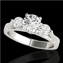 1.50 ctw Certified Diamond 3 Stone Ring 10k White Gold - REF-225N2F