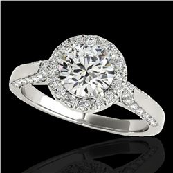 2.15 ctw Certified Diamond Solitaire Halo Ring 10k White Gold - REF-368R2K