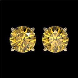 1.54 ctw Certified Intense Yellow Diamond Stud Earrings 10k Yellow Gold - REF-157K3Y