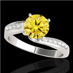 1.4 ctw Certified SI Fancy Yellow Diamond Bypass Ring 10k White Gold - REF-259G3W