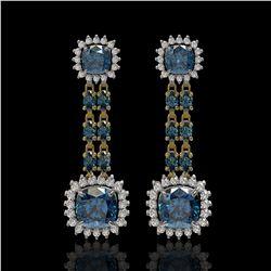 20.04 ctw London Topaz & Diamond Earrings 14K Yellow Gold - REF-239K8Y