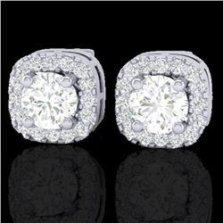0.75 ctw Micro Pave VS/SI Diamond Earrings Designer Halo 18k White Gold - REF-87F3M