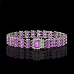 20.93 ctw Amethyst & Diamond Bracelet 14K White Gold - REF-318X2A