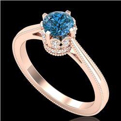 0.81 ctw Fancy Intense Blue Diamond Art Deco Ring 18k Rose Gold - REF-103R6K