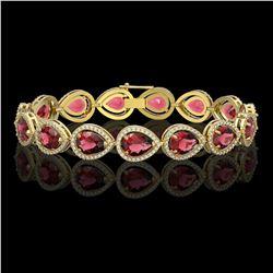 19.7 ctw Tourmaline & Diamond Micro Pave Halo Bracelet 10k Yellow Gold - REF-509G3W