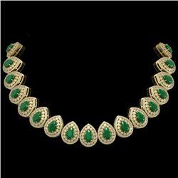 121.42 ctw Emerald & Diamond Victorian Necklace 14K Yellow Gold - REF-3909H3R
