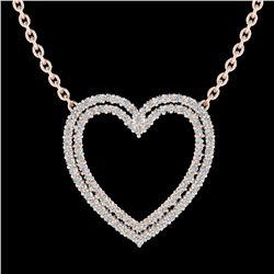 2 ctw VS/SI Diamond Heart Halo Designer Necklace 14k Rose Gold - REF-134Y8X