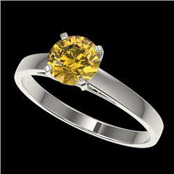 1 ctw Certified Intense Yellow Diamond Engagment Ring 10k White Gold - REF-163M2G