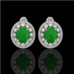 10.61 ctw Jade & Diamond Victorian Earrings 14K White Gold - REF-269H3R