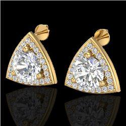 3 ctw Micro Pave VS/SI Diamond Certified Stud Earrings 18k Yellow Gold - REF-870F2M