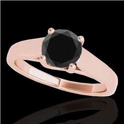 1.5 ctw Certified VS Black Diamond Solitaire Ring 10k Rose Gold - REF-61K4Y