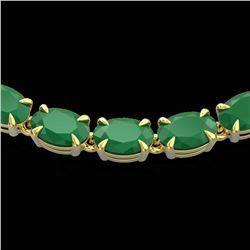 40 ctw Emerald Eternity Tennis Necklace 14k Yellow Gold - REF-254M5G