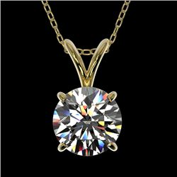 1.01 ctw Certified Quality Diamond Necklace 10k Yellow Gold - REF-141F3M