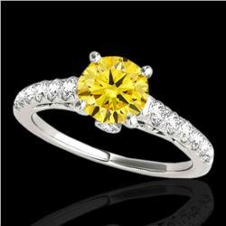 1.75 ctw Certified SI/I Fancy Intense Yellow Diamond Ring 10k White Gold - REF-231Y8X