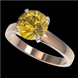 2.50 ctw Certified Intense Yellow Diamond Solitaire Ring 10k Rose Gold - REF-564X5A