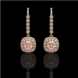 4.3 ctw Certified Morganite & Diamond Victorian Earrings 14K Rose Gold - REF-172M8G