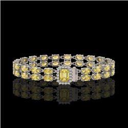 13.88 ctw Citrine & Diamond Bracelet 14K White Gold - REF-236N4F