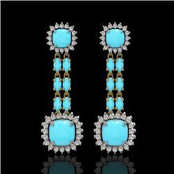 16.04 ctw Turquoise & Diamond Earrings 14K Yellow Gold - REF-225R3K