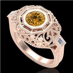 1.13 ctw Intense Fancy Yellow Diamond Art Deco Ring 18k Rose Gold - REF-309W3H