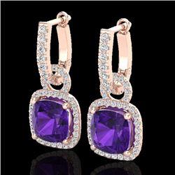 7 ctw Amethyst & Micro Pave VS/SI Diamond Earrings 14k Rose Gold - REF-94H5R
