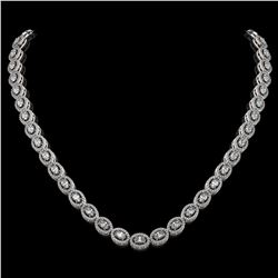 18.43 ctw Oval Cut Diamond Micro Pave Necklace 18K White Gold - REF-1596K8Y