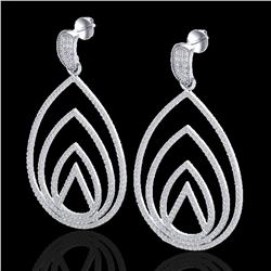 2.50 ctw Micro Pave VS/SI Diamond Designer Earrings 18k White Gold - REF-277N6F