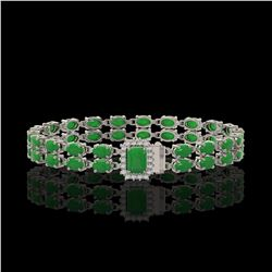 12.3 ctw Jade & Diamond Bracelet 14K White Gold - REF-236K4Y