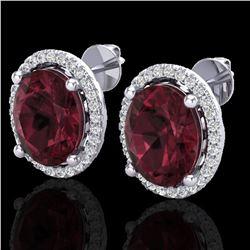 5 ctw Garnet & Micro Pave VS/SI Diamond Earrings 18k White Gold - REF-72Y8X