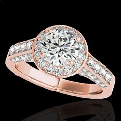 2.56 ctw Certified Diamond Solitaire Halo Ring 10k Rose Gold - REF-354W5H