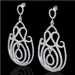 3.50 ctw Micro Pave Designer VS/SI Diamond Earrings 14k White Gold - REF-345X5A