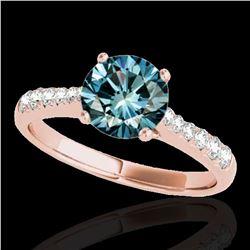 1.25 ctw SI Certified Fancy Blue Diamond Solitaire Ring 10k Rose Gold - REF-117K3Y