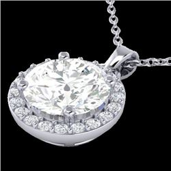 1.75 ctw VS/SI Diamond Certified Micro Pave Necklace 18k White Gold - REF-511K4Y