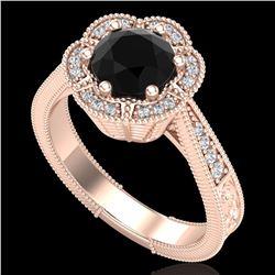 1.33 ctw Fancy Black Diamond Engagment Art Deco Ring 18k Rose Gold - REF-89M3G