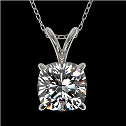 1 ctw Certified VS/SI Quality Cushion Cut Diamond Necklace 10k White Gold - REF-239K3Y
