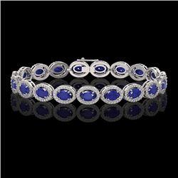15.2 ctw Sapphire & Diamond Micro Pave Halo Bracelet 10k White Gold - REF-244X2A