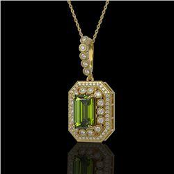 6.7 ctw Tourmaline & Diamond Victorian Necklace 14K Yellow Gold - REF-254F5M