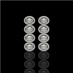 5.33 ctw Oval Cut Diamond Micro Pave Earrings 18K White Gold - REF-736K8Y