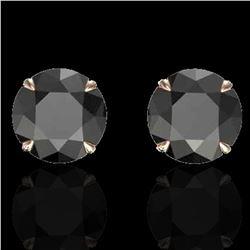 4 ctw Black Diamond Designer Earrings 14k Rose Gold - REF-125H5R