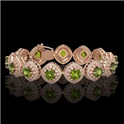 33.05 ctw Tourmaline & Diamond Victorian Bracelet 14K Rose Gold - REF-982G8W