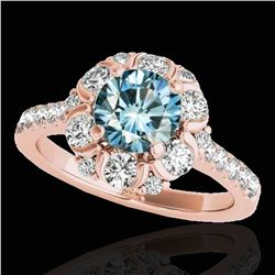 2.05 ctw SI Certified Fancy Blue Diamond Halo Ring 10k Rose Gold - REF-156A8N