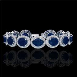 30 ctw Sapphire & Micro Pave VS/SI Diamond Bracelet 10k White Gold - REF-454A5N
