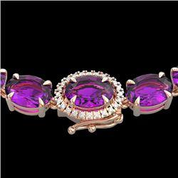 45.25 ctw Amethyst & VS/SI Diamond Micro Pave Necklace 14k Rose Gold - REF-263G6W
