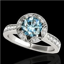 1.5 ctw SI Certified Fancy Blue Diamond Solitaire Halo Ring 10k White Gold - REF-135R2K