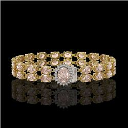 27.57 ctw Morganite & Diamond Bracelet 14K Yellow Gold - REF-400G2W