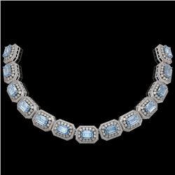109.25 ctw Aquamarine & Diamond Victorian Necklace 14K White Gold - REF-3037X8A