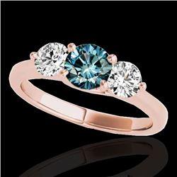 3 ctw SI Certified Fancy Blue Diamond 3 Stone Ring 10k Rose Gold - REF-395F5M