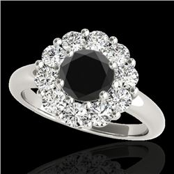 2.09 ctw Certified VS Black Diamond Solitaire Halo Ring 10k White Gold - REF-88X6A